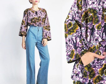 1960s Tunic Blouse Ethnic Novelty Print Shirt Vintage Hippie Batik Blouse Garden of Eden Boho Cotton Blouse Pullover African Festival (L)