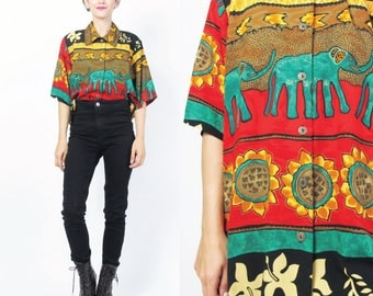80s Ethnic Print Blouse ELEPHANT Novelty Print Floral Top Collared Short Sleeve Blouse Striped Hippie Boho Rayon Slouchy Womens Shirt (M/L)