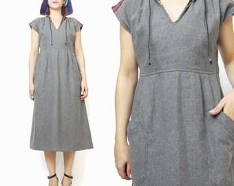 70s Joseph Magnin Dress Vintage Gray Wool Dress Hooded Dress Tribal Striped Aztec Baja Winter Dress Knee Length V Neck Designer Dress (M)