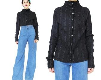 Minimalist Black Pleated Top 1990s Pleated Shirt Textured Blouse Modern Black Long Sleeve Avant Garde Minimal Goth Accordian Pleats (M/L)