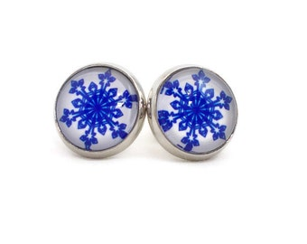 Blue Snowflake Earrings, Snowflake Jewelry, Winter Jewelry, Cute Earrings, Blue & White, Round Earrings, Stud Post Earrings, Gifts Under 20