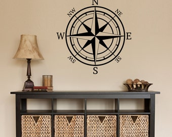 Compass Decal - Compass Rose Wall Decal - Directional Wall Sticker - Compass Wall Decal - North South East West