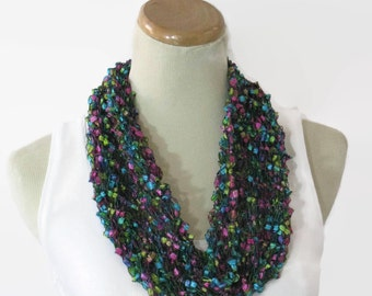 Multi-color Scarf, Knit Cowl, Spring Cowl, Loop Scarf, Fashion Scarf, Mother's Day, Circle Scarf, Hand Knit Scarf, Turquoise, Pink Scarf