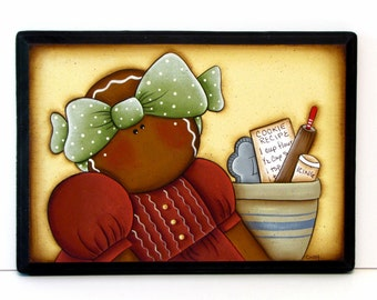 Primitive Gingerbread with Green Bow and Red Dress Sign, Handpainted Wood Plaque, Hand Painted Gingerbread Home Decor, Ginger Wall Art, B3