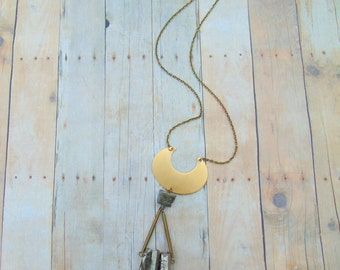 Quartz Crystal Pendant Necklace Raw Crystal Necklace Cresent Moon Necklace Boho Chic Jewelry DyNamo Pyrite Necklace Layering Jewelry