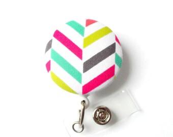 Colorful Chevron Braid - Cute Badge Reel - Nurse Badge Holder - Nursing Badge Reel - RN Badge Clip - Teacher Badge - MA Badge - Nurse Gift