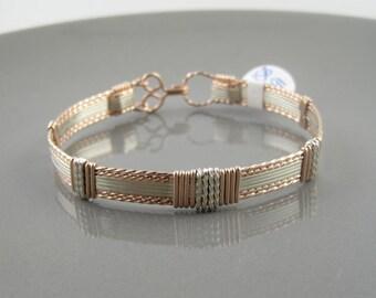 WSB-0191 14k Rose Gold Filled and Sterling Silver Bangle Bracelet