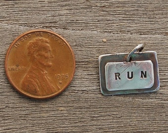 RUN 26.2 sterling silver Hand Stamped 2 layer Small Pendant Charm oxidized for dark rustic finish Stamped Front and Back