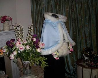 Mini Snow Princess 20-inch Waist length Bridal Cape Powder Blue / White Satin Hooded Reversible Wedding Cloak with Fur Trim Handmade In USA