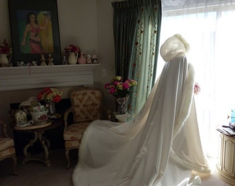 Victorian Bridal cape 52/88 inch IVORY / IVORY Satin Hooded Wedding Cloak with Fur Trim Steampunk Handmade in USA