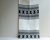 Vintage Woven Runner Textile in Black and White
