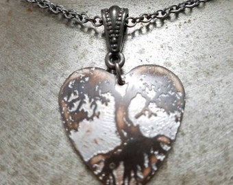 Etched Copper Tree of Life heart Necklace