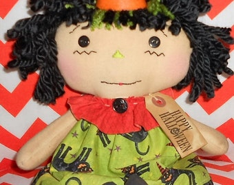 HaPPy HaLLoWeeN AnNiE Primitive Handmade Raggedy Ann Annie Doll with tag Hafair