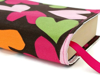 Paperback book cover for mass market books, Reusable book cover, Fabric book cover - Hearts
