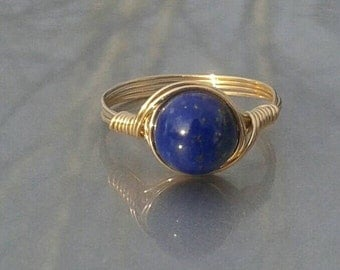 LG Lapis Lazuli 14k Gold Filled Custom Sized Wire Wrapped Gemstone Ring