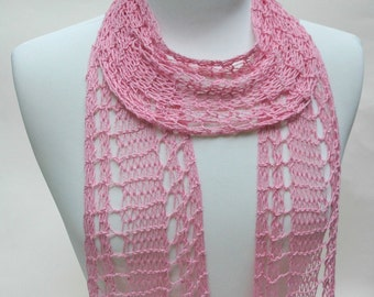 Cotton and Hemp Scarf/ Hand Knit/ Pink/ Rose