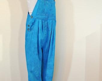 Aqua Medium Bib OVERALL Pants - Teal Dyed Upcycled Mother Sport MATERNITY Cotton Denim Overalls - Adult Women Size Medium (38 waist x 29 L)