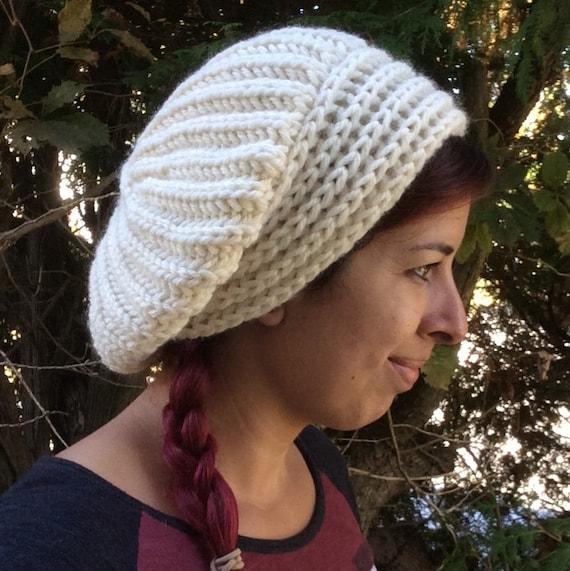 Knit Slouchy Hat Pattern Bulky Yarn : Bulky Brioche Brim Slouchy Hat Knitting Pattern Instant