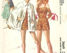 McCalls 3669 / Vintage 50s Sewing Pattern / Swimsuit Bathing Suit Cape Beach Robe Coverup / Size 14 Bust 32 / Unused