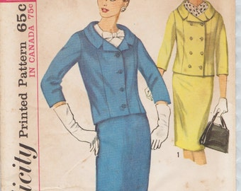 Simplicity 5828 / Vintage 60s Sewing Pattern / Jacket Skirt Suit / Size 14 Bust 34