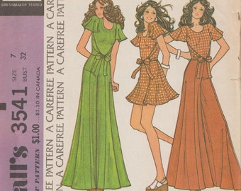 Vintage Sewing Pattern / McCalls 3541 / Wrap Blouse With Flutter Sleeves / Palazzo Pants Skirt / Size 7 Bust 32