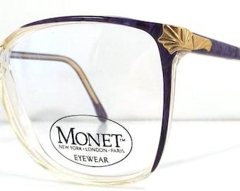 vintage 80s monet backstock plastic eyeglasses oversize round frame women fashion retro modern eye glasses eyewear dark crystal clear purple