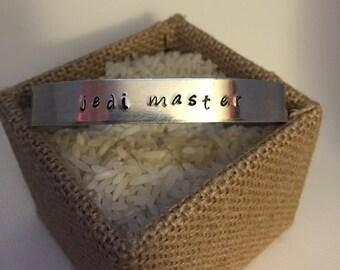 Jedi Master  Star Wars hand-stamped cuff bracelet