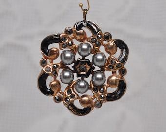 Vintage Flower Shape Pendant Gold Toned Metal Faux Hematite Crystals and Swarovski Grey Pearls