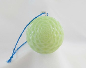 Golf Ball Ornament, Lime Green Christmas Ornament, Unique Golf Gift for Golfer, Hand Carved Golf Ball Ornament