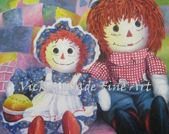 Raggedy Ann and Andy Original Oil Painting 11X14, children's wall art, red, blue, kids room, ann, andy, bedroom kids art, Vickie Wade Art