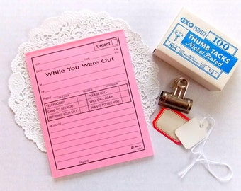 Vintage Pink While You Were Out Message Slips / Daily Planner / 10 Pieces / Journal