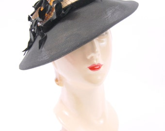 30s 40s Miss Ruth Hat - Black Straw 30s Hat - Hat with open crown