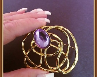 Large Gold Tone Squiggle Brooch, Purple Cabochon, Abstract, Vintage
