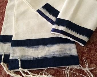 Navy and White Cotton Tallit