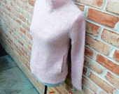 70s Pink Alpaca Sweater Mock Turtle Banded Side Pockets Mod Hippie Boho Seventies Costuming Stretchy Slim Silhouette
