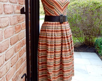 1950s Striped Halter Dress Sundress Belt V Neck Pointy Collar Fit and Flare Summery Pacific Coast Highway Style