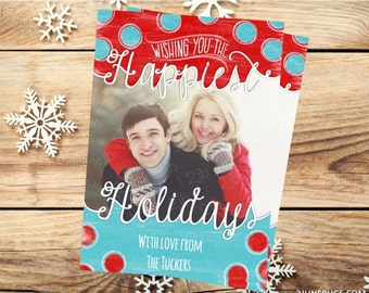 Holiday Photo Card - Christmas Card - Printable Christmas Photo Card - Red and Blue Watercolor Dots - DIGITAL PERSONALIZED