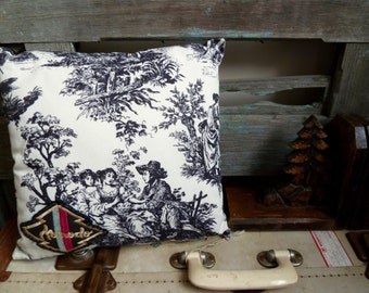 Vintage Komodo Patch on Black & White Toile Fabric, Small Square Cushion, Statement Cushion, OOAK Throw Pillow