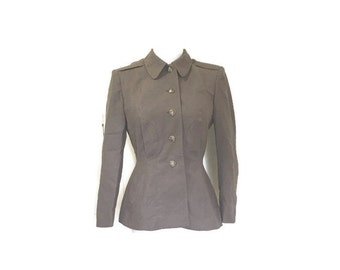 Vintage Wool Blazer / Military / Ladies / Fitted / xs small