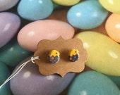 Little Chick Earrings - Chicken Earrings - Post Earrings - Upcycled Sticker Earrings - Gift - under 5 dollars - Kawaii Earrings - Easter Egg