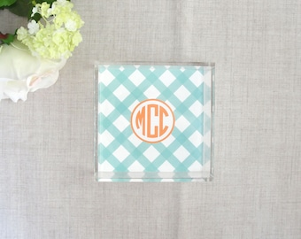 Buffalo Check Pattern | Monogram Lucite Tray | Acrylic Desktop Organizer | Square Tray | Gift for Her | House Warming Present