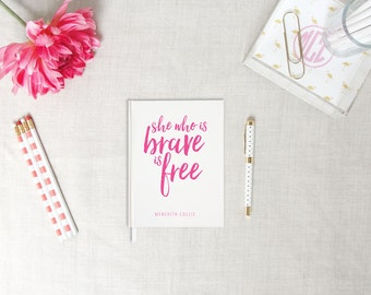 She Who Is Brave | Personalized Hardback Journal | Inspirational Quote | Flamingos for a Cure | Breast Cancer Awareness | Encouragement Gift