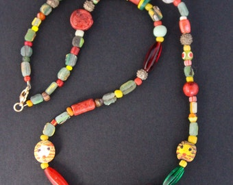 Colorful Ancient Glass Necklace Green Roman Glass Shards with Red Yellow Vintage Glass and Yoruba Gold Washed Beads Artisan Jewelry