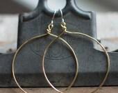 BRASS HOOP EARRINGS, Classic Earrings, Statement earrings, Matte hoops,  brass hoop, continuous hoop, hammered hoop, pommier-benoit