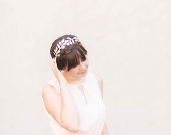Oversized Silver Leaf Headband - Bridal or Everyday Headband, Boho Crown, Headpiece