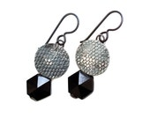 Jet Black earrings antique hexagone bead French jet lace textured silver Ultra chic earrings by Lucie Tales