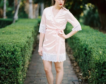 Rosilynn Robe, Lace Robe, Getting Ready Robes, Wedding robes for bridesmaids, Bridal Robe, Lace Bridal Robe, Boudoir Robe, Silk Robe