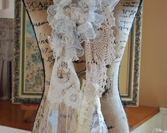 Shabby chic Mori girl vintage lace, doilie scarf