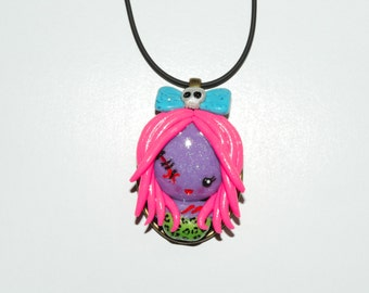 final CLEARANCE price Zombie girl cameo necklace. walking dead, living dead girl, rainbow hair, hair bows, skulls, stitches, cute, glitter,