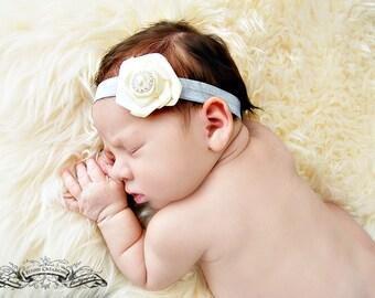 Baby Headband...Ivory Satin Rose Headband...Ivory and Silver Baby Headband, Headband, Ivory Baby Headband